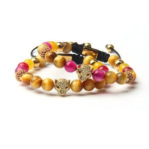 Nouveau design Bracelets Leopard diamant rose avec 8 mm naturel Golden Tiger Eye Bracelet en perles Full Diamond Panther Bijoux Bracelet
