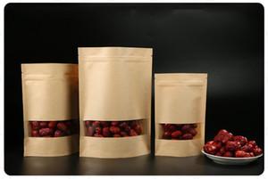 100 piezas de Alimentos de humedad Barrera bolsas con ventana transparente Brown Papel Kraft Doypack bolsa Ziplock bolsa de embalaje sellado