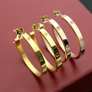 Neue ankunft mode dame 316 titanium stahl schraube einstellung diamant c-form hochzeit verlobung 18 karat überzogene gold ohrringe 3 farbe