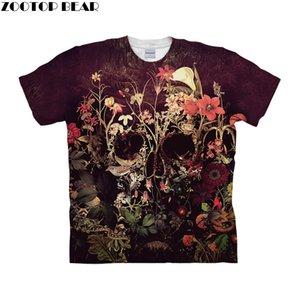 Crâne de fleur par ALI Art T-shirts Hommes Manches Courtes Femmes Tshirt 2019 Tee-Shirts Manches Courtes Été Tops Drop Ship ZOOTOP BEAR