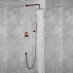 Brushed Rose Gold zwei Funktionen Regen-Dusche-Hahn-Satz Wandmontage Dusche Arm Umsteller Mischer-Hahn-Messinghand Spray Set