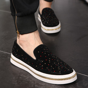 2020 New Men Loafers Black Diamond Rhinestones Spiked Loafers Rivets Shoes Thick Bottom Wedding Party Shoes