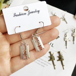 New Punk Fun Handmade Jewelry Earring Retro Dark Handcuffs Rose Pistol Coin Blade Hanger Dangle Fashion Earrings For Women Girls