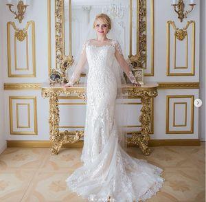2020 Arabic Elegant Lace Wedding Dresses with detachabled train Saudi Dubai Formal Mermaid Mariage Bridal Gowns African Vestido de noiva