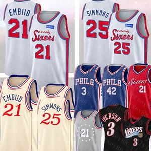 Top 21 de la NCAA Joel embiid Jersey Ben 25 Simmons Allen Iverson 3 Al Horford 42 Jersey bordado retro de malla 3 Iverson baloncesto