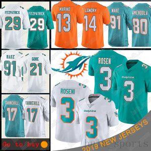 3 Josh Rosen Miami maglie Dolphin 13 Dan Marino 91 Cameron Wake 80 Danny Amendola 21 Frank Gore 29 Minkah Fitzpatrick Divisa