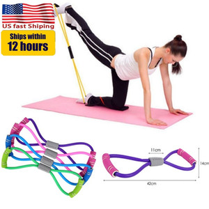 US Stock Yoga Gum Fitness Resistance 8 Word Chest Expander Rope Workout Muscle Fitness Rubber Elastic Bands for Sports Exercise