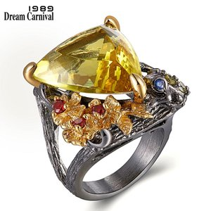 DreamCarnival 1989 Chic Fashion Jewelry Ring Big Gold Color Triangle Zircon Red Flowers Wedding Rings Drop Ship Hot Pick WA11658
