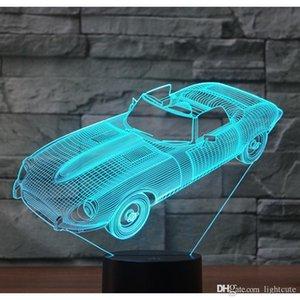 3D LED Gece Işığı Sürücü Spor Araba Roadster Ev Dekorasyon Lambası Şaşırtıcı Görselleştirme Optical 7 Renk Işık