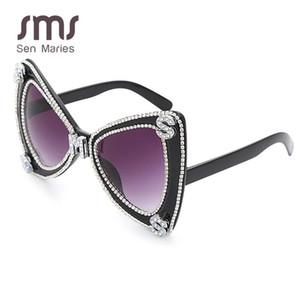 Sen Maries Diamant-Sonnenbrille-Frauen 2020 Luxulry Marke Schmetterling übergroße Sonnenbrille-Männer Weinlese-Kristallglas Uv400 Oculos RdGnS