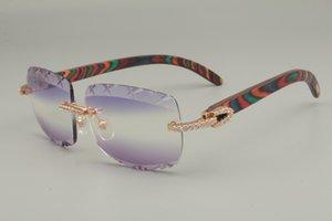 نمط شخصية اللون الطبيعي الماس النظارات الشمسية 8300756-B نظارات شمسية، أفضل مبيعا جديد عدسة النقش الخشبي الحجم: 56-18-1 DMCM