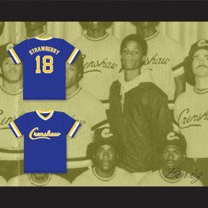 Ucuz Darryl Çilek 18 Crenshaw Lisesi Cougars Mavi Beyzbol Forması Erkek Dikişli Formalar Gömlek Boyutu S-XXXL Ücretsiz Kargo