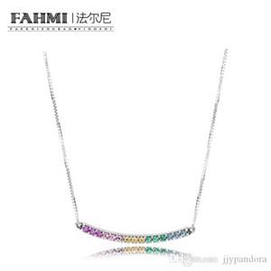 WPENNYI 100% 925 collana in argento nuovo arcobaleno variopinto della catena di fascino zircone Arcobaleno clavicola