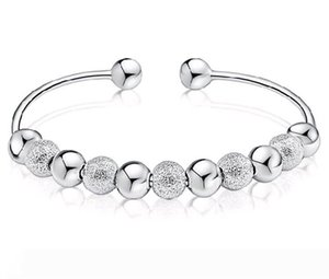 Wholesale Sterling Silver Plated Cuff Bangle Bracelets Good Luck Lucky Beads Anti allergy Hand Jewelry for Women Sale 20pcs lot