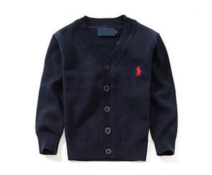 Novo Top Roupas Infantis Marca 100% Algodão Bebê Camisola de Alta Qualidade Outerwear Crianças Menina Camisola Menino Camisola Com Decote Em V Camisolas Do Polo