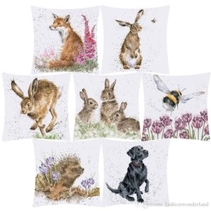 Animal Painting Fox Rabbit Bunny Flying Bee Hedgehog Cushion Cover Flower Oil Painting Polyester Throw Pillow Case 45X45cm Sofa Decoration
