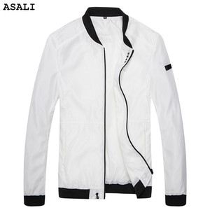 ASALI Mens Spring Autumn Casual solid Outwear Slim Fit Thin Jacket Brand Clothing men button Bomber Jacket J39
