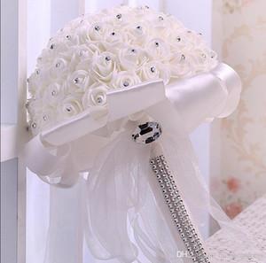 Crème Bouquet de mariée en satin de mariée Rose cristaux mariage décoration de fleurs artificielles demoiselle d'honneur nuptiale tenue main Broche fleurs CPA1582
