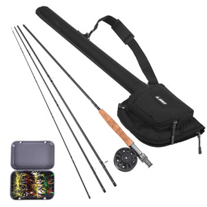 Lixada 9'  Fishing Rod and Reel Combo with Carry Bag 20 Flies Complete Starter Package  Fishing Kit Pesca