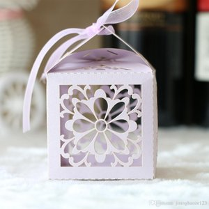 Unique Exquisite Hollow rose window Laser Cut pearl Candy Chocolate Gift Boxes Bridal Birthday box with Ribbons castle wedding souvenirs