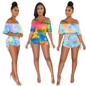 Kadın tasarımcı yaz Tulumlar Tulum seksi kulübü şort slash boyun kapalı omuz tulum Fırfır partywear askı Degrade şık 1037