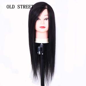 Beauty Salon Mannequin Head With 70% Human Hair Black Brown Training Head Hairdressing Practice Perm Edit and Release Display