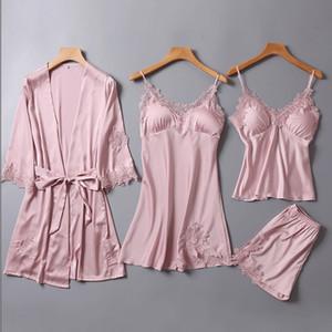 Pksaq Pyjamas Pour Les Femmes D'été 4 Pièces De Pyjamas Un Lot De Pyjama Ensembles Vêtements De Nuit À Domicile Costume Vêtements Soie Pyjama Ensemble T190710