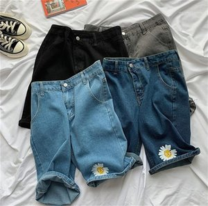Jeans Kısa Pantolon Gündelik Yaz Tasarımcı Düz Diz Boyu Pantolon Kadınlar Jeans Bayan Moda Stil Baskı