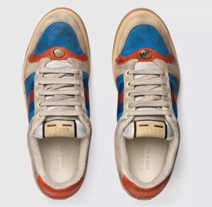 2019 New homem sapatos de grife qualidade tigre abelha azul listras vermelhas sapatos de luxo afligido couro verdadeiro moda ace de tênis para as mulheres L16