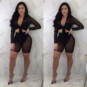 ABD STOK Kadınlar Bluz + Pantolon İki parçalı tulum Bodysuit Tulum Romper Seti