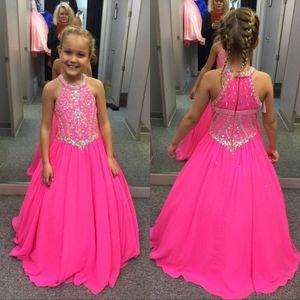 Fuşya Boncuklu Kristaller Kızlar Pageant elbise A Hattı Halter Boyun Çocuklar Ünlü Akşam Balo Parti Abiye Custom Made