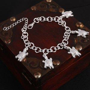 Hesiod Hochzeit braut frauen armbänder silber farbe schildkröte charme armbänder fußkettchen schildkröte anhänger armreifen mädchen geschenke