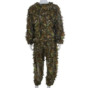 3D Leaf Adults Ghillie Suit Woodland Camo Camouflage Hunting Deer Stalking in Hunting Sets