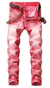 Men's Stylish Multi-Color Retro Washed Broken Slim Fit Moto Biker Jeans