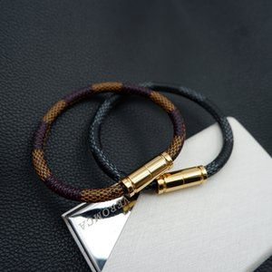 Brand Designer Leather Rope Bracelet Men Stainless Steel Magnet Buckle Bracelet for Women Men Jewelry 2020
