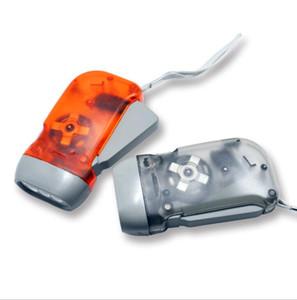 Mão Pressionando gerar eletricidade 3 LED Crank Dynamo Power Wind Up Lanterna Tocha Noite Lâmpada Luz Camping Outdoor Sports engrenagem Ferramenta