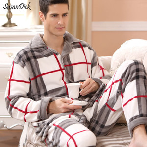 Susandick 2019 New Winter Pyjamas Hommes Épais Polaire Pyjama Ensembles De Luxe Vêtements De Nuit Chauds Plaid Costumes Homme Casual Maison Vêtements Pijama MX190724