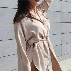 YOCALOR Женщины Длинных Блузы осени SpringCasual Пуговица дама Элегантные босоножки Монтажна талия ретро Верхняя рубашка BL3039