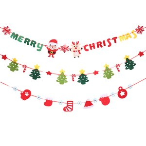 DIY feltro tecido Bandeiras do floco de neve Papai Noel árvore do Feliz Natal Floral Bunting Bandeiras Casa Loja Mercado Room Decoration 2017