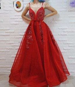 클래식 트렌디 레드 댄스 파티 드레스 2019 Spaghetti Backless Appiques Bead Sash Bow Long 정장 이브닝 파티 가운 Special Occasion Dress