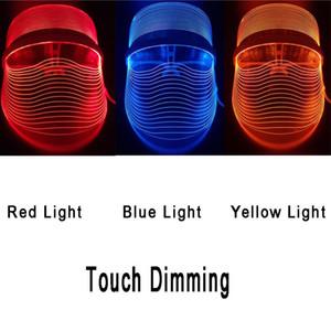 3 Cor Led pele Máscara rejuvenescimento facial Lamp Light Therapy Acne Anti máquina Facial Esfoliante Remoção Hidratar rugas beleza equipamentos