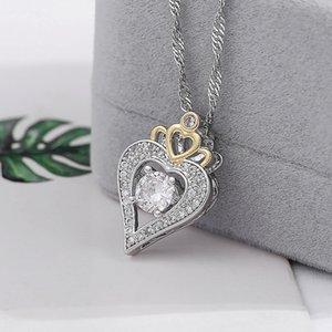 2019 Romantic Love Theme Colgante Collar de Cobre Circón Joyería de Plata en forma de Corazón Collar Pareja Temperamento Noble de Alta Calidad