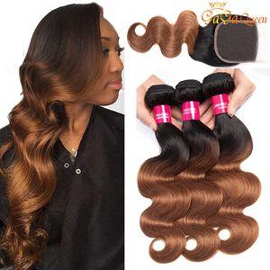 Ombre Brasiliano Body Wave Bundles Human Hair Bundles con 4x4 Chiusura a pizzo 1b / 30 Bionda Brasiliana Capelli Umani Tessuto 3 Bundles con chiusura