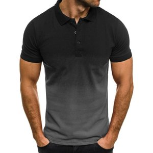 Men's Casual Short-Sleeved Shirt New Fashion Business Office Gradient T-shirt Pure Cotton Material Comfortable Breathable