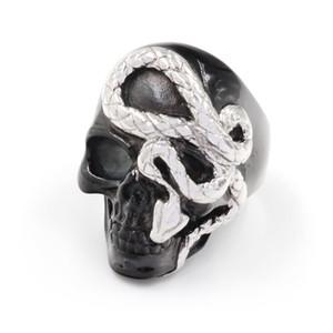 Vintage Black Silver Color Skull Ring For Men Прохладный Hiphop Punk Gothic черепа змея Кольца ювелирные изделия