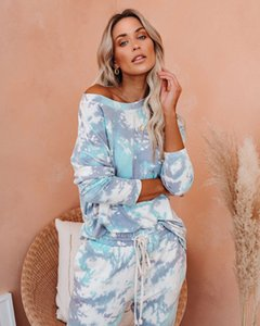 Ms. pajamas 2020 new casual round neck long-sleeved tie-dyed trousers pajamas tracksuit sports suit