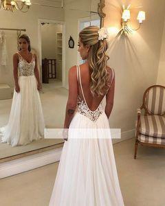 Elegante una línea vestidos de boda de playa de 2020 del nuevo cordón apliques de gasa con cuello en V sin respaldo vestidos de novia por encargo barata 748