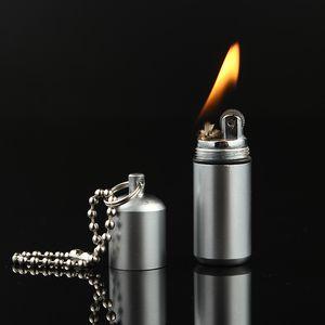 Portable Mini Compact Kerosene Lighter Capsule Gasoline Lighter Inflated Key Chain Petrol Grinding Wheel Lighter Outdoor