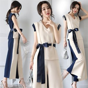 Office Lady Sleeveless Ensemble Femme Deux Pieces Elegant Celebrity Two Piece Set Top And Pants Patchwork Lace Up Summer Style T200702