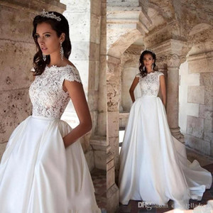 Gorgeous Plus Size A Abiti da sposa con Treno Staccabile Pizzo Applique Backless Pleats Abito da sposa Abiti da sposa Vestidos de Noiva